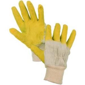 Povrstvené rukavice DETA, bílo-žluté